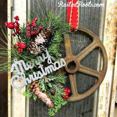 upcycled-wheel-wreath-merry-christmas