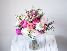 bright & colorful - coral peonies, blush peonies, roses and greens