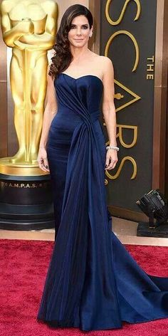 Sandra Bullock in a navy gown
