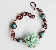 Vintage Blue Green Flower Blue Bead Brown Wire Wrap Handmade Adjustable Bracelet