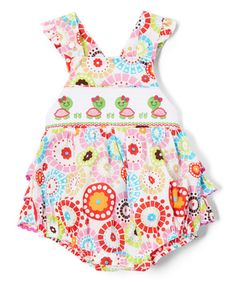 Pink & Green Turtle Smocked Bubble Romper - Infant & Toddler