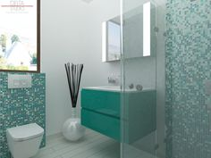 Turquoise si mozaic Bisazza! Scot din anonimat chiar si cea mai mica baie! Deosebit de fresh, această amenajare de baie îmbină albul perlat al
