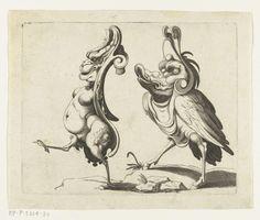 Twee grotesken, naar links lopend, anoniem, Arent van Bolten