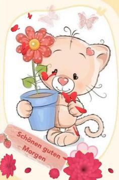 Good Morning In Spanish, How To Have A Good Morning, Cute Cartoon Pictures, Good Morning Messages, Cute Gif, Cartoon Characters, Hello Kitty, Videos, Illustration