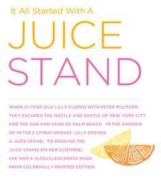 Lilly Pulitzer Juice Stand | Lilly certainly had connections, and once the great families of New ...