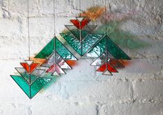 SALE Stacked Triangle Elements set of 4 par BespokeGlassTile