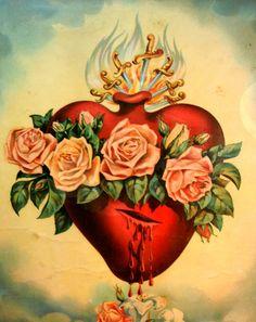 The Immaculate Heart of the Blessed Virgin Mary Catholic Art, Religious Art, Sagrado Corazon Tattoo, Sacred Heart Tattoos, Jesus E Maria, Herz Tattoo, Chicano Art, Holy Mary, Blessed Virgin Mary