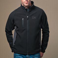 Campus Classics - Sigma Nu Black and Gray Soft Shell Jacket: $65.95