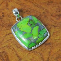 Green Copper Turquoise925 Solid Sterling Silver Pendnat 9.21g SJP-0179 #Handmade #Pendant