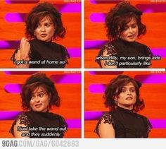 Parenting done right by Helena Bonham Carter, also known as Bellatrix Lestrange, the most evil witch in the Harry Potter Stories. Harry Potter Funny Pictures, Harry Potter Jokes, Harry Potter Fandom, Harry Potter Interviews, Helena Bonham Carter, Helen Bonham, Helena Carter, Movies Quotes, Funny Quotes