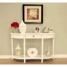 Home Craft Half Moon White Console Sofa Table