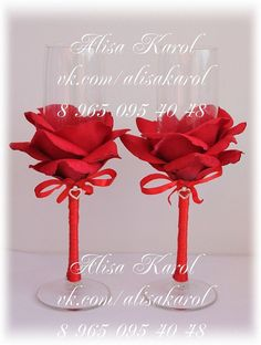 Wedding champagne glasses wedding flutes in red by AlisaKarol, $65.00