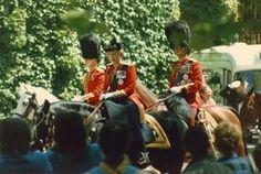 Did the experience put the Her Majesty off riding in the Trooping of the Colour ceremony? No, here she is in 1986 with Prince Charles and Prince Philip Prince Philip, Prince Charles, Trooping Of The Colour, Britain Uk, Her Majesty The Queen, Queen Of England, Interesting Topics, Burmese, Queen Elizabeth Ii