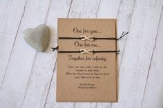 His and Hers infinity wish bracelet gift.  Our bracelets are made from waxed cotton cord with an infinity charm. They are designed to be tied to your wrist with any excess cord cut off. All bracelets are mounted onto approx a 4x6 EdieMae wish card, made from recycled Kraft card, they