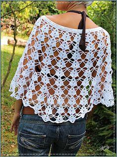 Crochet Bolero Pattern, Crochet Cape, Crochet Poncho Patterns, Crochet Collar, Crochet Jacket, Crochet Blouse, Knitted Poncho, Love Crochet, Crochet Shawl