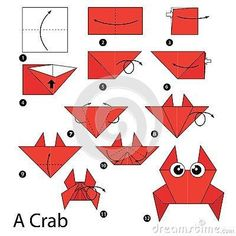 fácil crianças passo a passo step by step instructions how to make origami A Crab. step by step instructions how to make origami A Crab. Diy Origami, Design Origami, Origami Simple, Easy Origami For Kids, How To Make Origami, Origami Folding, Useful Origami, Paper Crafts Origami, Paper Folding