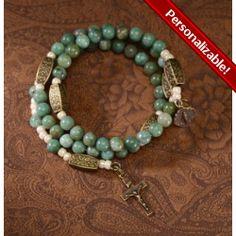 Jade Green & Brass Rosary Wrap Bracelet   The Catholic Company