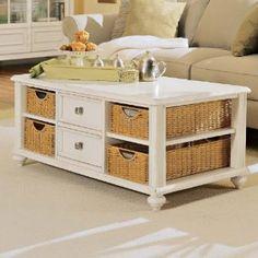American Drew Camden Antique Rectangular White Coffee Table with Wicker Basket Storage