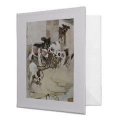 Binder - Vintage Office Decor  This white binder has an adorable vintage illustration of a litter of puppies at play. If you love p...