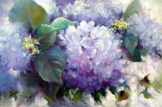 Painting A Day: Small Masterpieces by Tina Wassel Keck ©: Hydrangea Paintings Abstract Flowers, Watercolor Flowers, Watercolor Paintings, Floral Flowers, Hydrangea Painting, Fashion Painting, Original Art For Sale, Acrylic Art, Flower Art