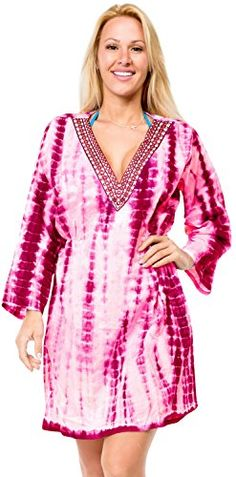 Cover up Dress Tunic Top Resort Wear Cotton Caftan Beachwear Swim Long  Sleeves     Continue to the product at the image link.(It is Amazon  affiliate link)   ... 6e0c739e5