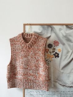 i fell in love with the cutest vest from one of my favourite danish brands. but luckily the colour didn't suit me and it was way too… Knit Vest Pattern, Knit Fashion, Latex Fashion, Gothic Fashion, Stockinette, Diy Clothes, Knit Crochet, Knitwear, Knitting Patterns