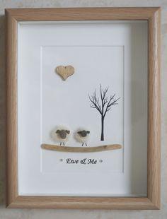 Pebble Art framed Picture Sheep Ewe & Me by Jewlls4u on Etsy