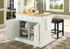 Butcher Block Top Kitchen Island in White Finish - The RTA Store