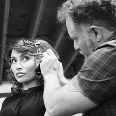 Director of Education, Ryan Teal setting the curls on model Irena. Styled using all #jbeverlyhills