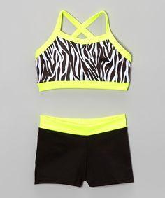 Neon Yellow Zebra Crop Top & Shorts - Girls