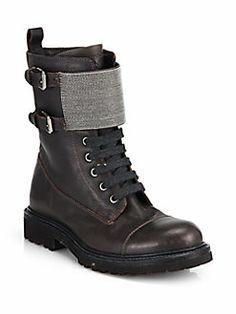 Brunello Cucinelli - Monili Beaded Leather Combat Boots