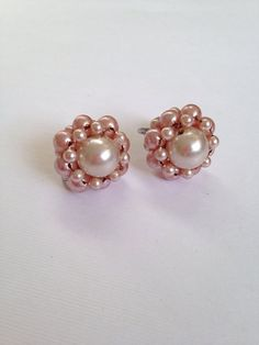 Vintage Pink Bead Earrings Screwbacks by ArtDecoDame on Etsy