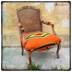 Vintage Serape French Style Chair with Cane Back by ChairyPicked