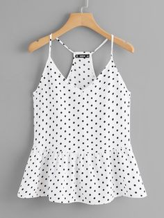 Cute Cami Polka Dot Regular Fit V Neck and Spaghetti Strap Black and White Polka Dot Ruffle Hem Cami Top Cami Tops, Casual Skirt Outfits, Cute Outfits, Stylish Outfits, Mode Top, Mens Activewear, Ladies Dress Design, Polyvore Outfits, Ideias Fashion