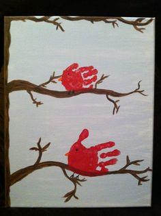 Handprint cardinal canvas Popsicle Stick Christmas Crafts, Easy Christmas Ornaments, Christmas Crafts For Kids, Christmas Handprint Crafts, Simple Christmas, Cute Christmas Ideas, Popsicle Crafts, Clear Ornaments, Snowman Ornaments