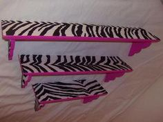 Zebra and pink shelves.I could do the zebra like this, then make one purple, one pink, and one teal :) My New Room, My Room, Girls Bedroom, Bedroom Decor, Bedroom Ideas, Bedroom Shelves, Bedroom Stuff, Zebra Print Bedroom, Zebra Bedrooms