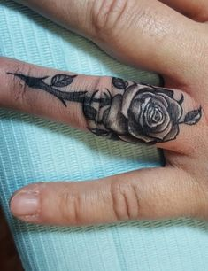 Rose Cover-Up On Ring Finger #ringfingertattoo #fingertattoo #tattoos