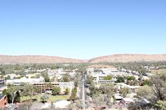 Landscape photo from the top of Anzac hill, going down the center of Alice, out to the gap