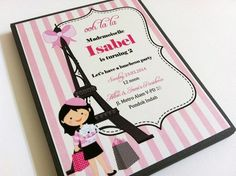 Eiffel Tower Paris Themed Party Invitations in Pink and Gray | adorebynat - Paper/Books on ArtFire Ooh La La, how adorable this Paris themed invitation is! A magnificent Eiffel Tower that is a symbol of Paris takes a stand in this invitation. There is a girl with her white poodle and shopping bags in front of the tower. The hair color can be matched to your girl's hair color. The pink and white stripes as the background make this invitation truly adorable.