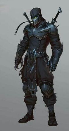 ninja warrior with knight mix point of view Fantasy Character Design, Character Concept, Character Inspiration, Character Art, Warrior Concept Art, Armor Concept, Fantasy Armor, Dark Fantasy Art, Medieval Fantasy
