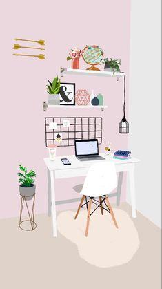 Aesthetic Room Decor, Aesthetic Art, Study Room Decor, Bedroom Decor, Home Bild, Kalender Design, Desk Set, Graphic Illustration, Japon Illustration
