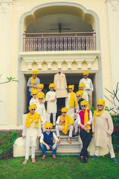 Fun groomsmen shoot with matching bright yellow safas!  Bright fuschia pink lehenga with a unique blue combination!   Wedmegood .... #Wedmegood #groomsmen #groomshoot #indianwedding #matchingsafas