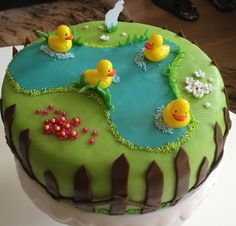 Duckpond b-day cake. Themed Birthday Cakes, Happy Birthday Cakes, Themed Cakes, 2nd Birthday, Duck Cupcakes, Duck Cake, Twin Baby Shower Cake, Pond Cake, Happy Birthday Cake Pictures