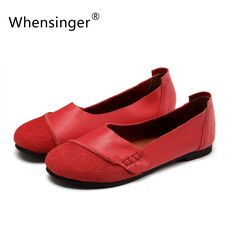 Whensinger Spring New Arrival Women Flat Shoes Slip On Ladies Brand Genuine Leather Casual Style 2 Colors D1611-in Women's Flats…