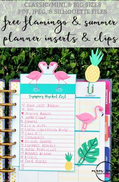 Free Printable Flamingo and Summer Planner Inserts and Clips from Mom Envy