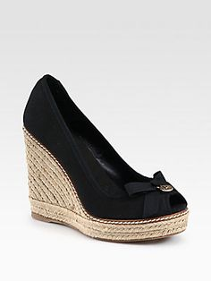 7212028d6723 Tory Burch - Jackie Canvas Espadrille Wedges