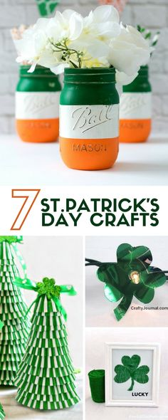 Need a little St. Patrick's Day Inspiration? These 7 easy DIY Craft Project Ideas will get you started. Great home decor projects or just for fun crafts! #stpatricksday #crafts