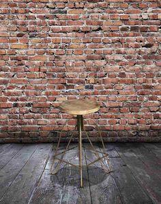 Rustik Barstol med Træsæde i Patineret Mangotræ