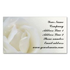 White Rose Romantic Business Card. I love this design! It is available for customization or ready to buy as is. All you need is to add your business info to this template then place the order. It will ship within 24 hours. Just click the image to make your own!