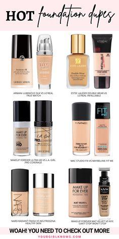 Best Drugstore Dupes, Skincare Dupes, Mac Makeup Dupes, Mac Dupes, Lipstick Dupes, Drugstore Beauty, Mac Foundation Dupes, No Foundation Makeup, Estee Lauder Foundation